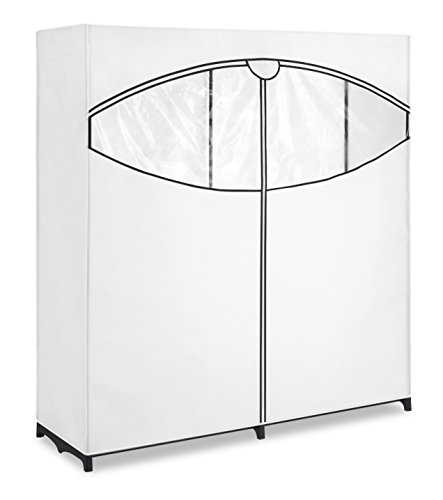 Whitmor Extra Wide Clothes Closet - Freestanding Garment Organizer with White and Black (Rolling Closet)