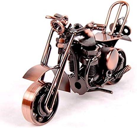 金属オートバイモデル鉄オートバイクリエイティブホームデコレーションオーナメントオフィスおもちゃ競争お土産 (Color : Brass, Size : 14*6*8cm)