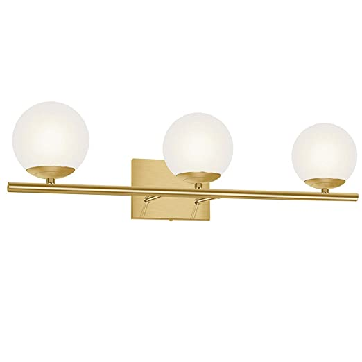 Yhtlaeh New Bathroom Vanity Light Fixtures Brushed Bronze Glass Shade Three Light Modern Wall Bar Sconce Over Mirror