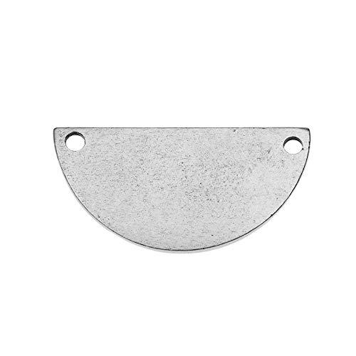 Nunn Design Flat Tag Pendant Link, Blank Half Circle 14.5x28.5mm, 1 Piece, Antiqued Silver Plated ()