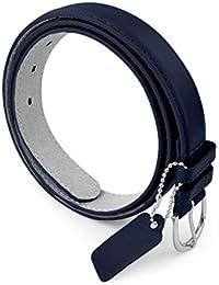 Womens Leather Belt - Solid Color Basic Pu Bonded Leather Dress Belt - Silver Polished Belt Buckle by Belle Donne