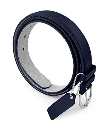 - Womens Leather Belt - Solid Color Basic Pu Bonded Leather Dress Belt - Silver Polished Belt Buckle by Belle Donne - Navy Medium