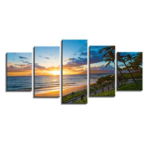 - Wailea Beach Sea Sunset Palm Trees Wave Nature Scenery Canvas Wall Art Poster Prints on Canvas in 5 Panels Modern Home Office Living Room Decor, Stretched-Ready to Hang