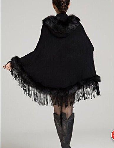 Cachemire Capuche Plaer Cardigan Revêtement Aux Noir Châle Femmes Bordée Cape Faux anOwHfq