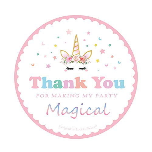 Box Gift Magical Blue - KREATWOW Magical Unicorn Stickers Thank You Stickers for Unicorn Party Supplies 48 Pack