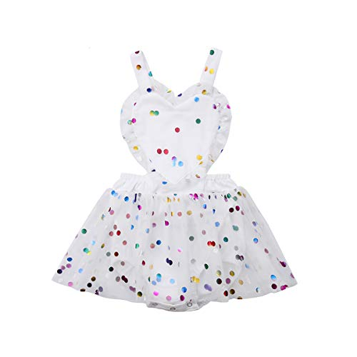 Baby Girls Rompers, Mermaid Sea World Pattern Flower Edge Bodysuit and Solid Basic Style Rompers Outfits Clothes (Colorful Dot, 18-24M) ()