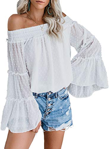Asvivid Womens Casual Off The Shoulder Shirt Vintage Dot Printed Bell Long Sleeve Loose Blouses Tops L White