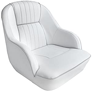 Kingpin Accessories Pontoon Captains Bucket Seat Boat Seat (White/Gray piping)
