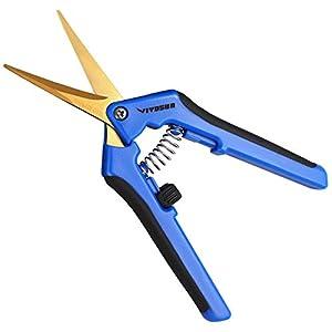 VIVOSUN Gardening Hand Pruner Pruning Shear with Curved Stainless Steel Blades Blue