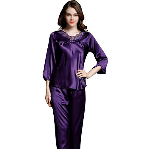 Larga Piezas 01 Traje Shizheshop Ropa De color Para Size Informal Hogar Xxl 03 Seda Mujer Pijamas Dormir Dos Manga El x00HP