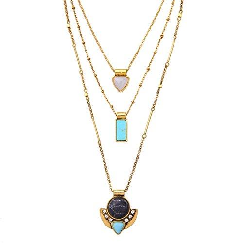 Peony.T Layered Necklace Boho Jewelry Set Turquoise Black Gem Pendant Long Chain Neckalce Gold Tone