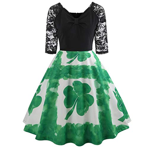 Women Skirts Long,Women St Patrick's Day Half Sleeve Lace Patchwork Print Flare Dress,Green,XL