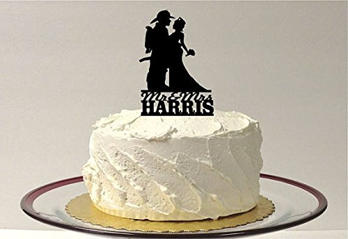 MADE IN THE USA Personalized Fireman and Nurse Wedding Cake Topper, Fireman & Nurse Wedding Cake Topper, Firefighter & Nurse Wedding Cake Topper, Fire Man Cake Topper, Nurse Wedding Cake Topper]()