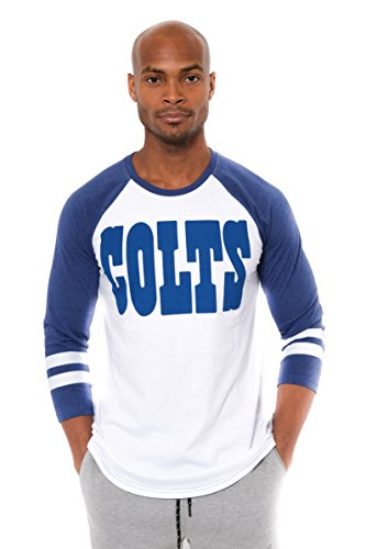 Colts Nfl T-shirts Indianapolis (Icer Brands NFL Men's Indianapolis Colts T-Shirt Raglan Baseball 3/4 Long Sleeve Tee Shirt, X-Large, White)