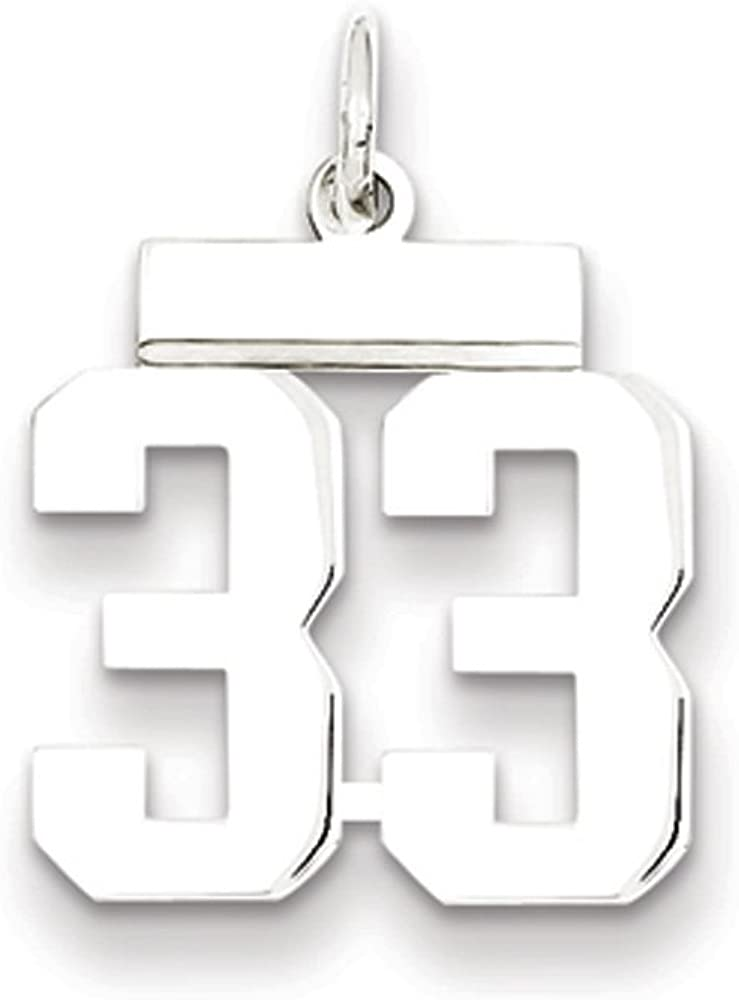 Rhodium Plated Sterling Silver Small Polished Number 5 Pendant Athletic Collection