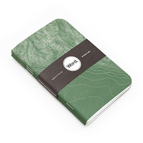 Word. Notebooks Green Terrain - 3-Pack Small Pocket Notebooks Photo #3