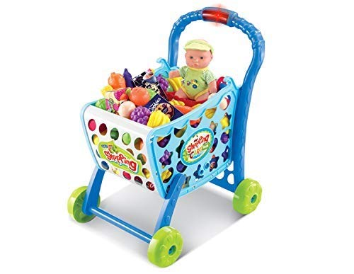 MeeYum Kids and Toddlers Pretend Play Mini Supermarket Shopping Cart Playset Kitchen Toys W/ Food, Money, Light and Sound by MeeYum