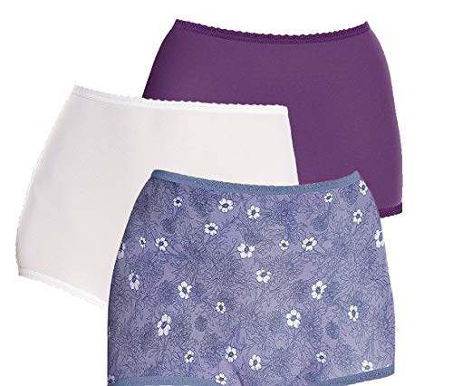 - Bali Women's Skimp Skamp Brief Panty 3-Pack, White/Purple Vista/Chat Blossom 7