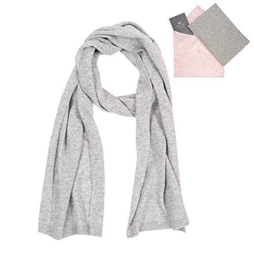 Cashmere Scarf for Women - 100% Pure Luxury Knit - Lightweight, Ultra Soft, Warm - Beautiful Silk Keepsake Gift Bag (Silver -