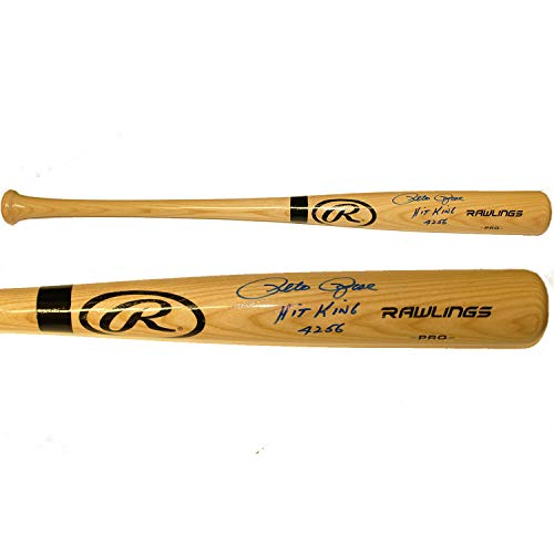 King Autographed Baseball - Pete Rose Autographed Signed Rawlings Pro Blonde Baseball Bat - Hit King 4256 Inscription - PSA/DNA Certified Authentic