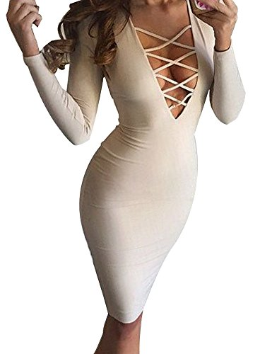 Allegrace Women Sexy Long Sleeve Autumn Warm Stretch Bodycon Party Bandage Dresses M Milk White -