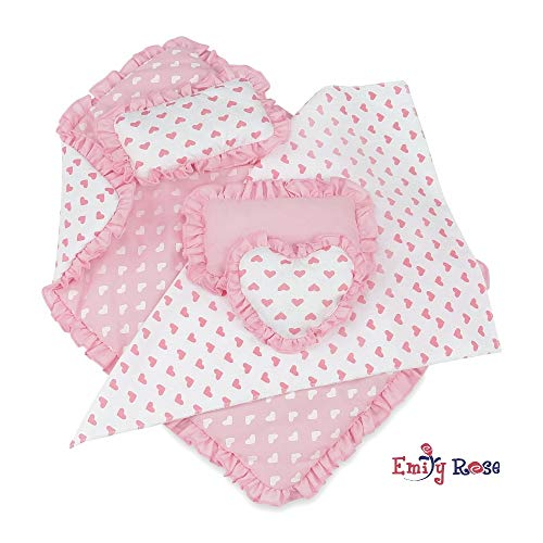 Emily Rose 18 Inch Doll Accessories for American Girl Dolls   Reversible Ruffled 5 Piece Doll Bedding Set for 18 Inch Doll Bed   Fits American Girl Doll Beds Furniture