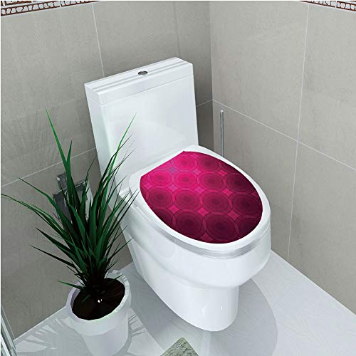 (Toilet Custom Sticker,Magenta Decor,Disc Shaped Fluid Dynamics Circular Spherical Forms Whirls Rings Print Image,Punch Pink,Diversified Design,W12.6
