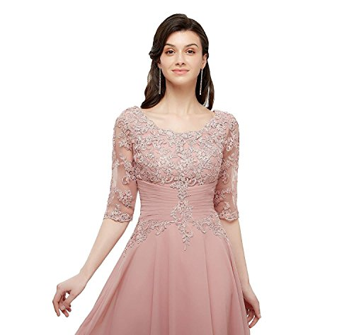 Knee Plum Mesh with Waist Dresses Bride Sleeves Pleated Lace Mother Length The Applique of nqgxf4YBw