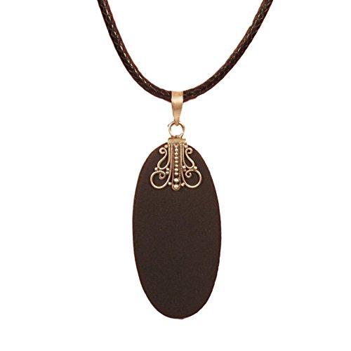 Pendant Bali Beaded Oval - 925 Sterling Silver Lava Rock Oval Black Pendant Necklace Bali Bay Trading Co