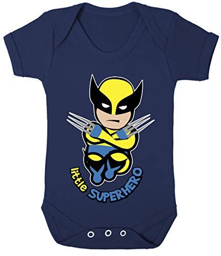 Baby Wolvie Little Superhero Bodysuits Onesie Hypoallergenic 100% Cotton (Navy, 6-12 Months)
