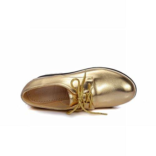Latasa Kvinna Mode Plattform Kil Hög Klack Snörning Oxford Skor Guld
