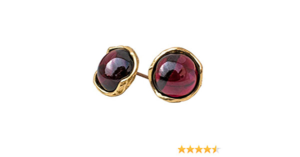 Garnet Stud Earrings Wire Wrapped Dangle Stud Earrings Red Gemstone Stud Earrings,Dainty  Gift for Her January Birthstone Base Chakra