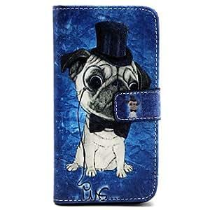 YULIN patrón de perro de la PU bolsa de cuero caja de la pistolera la función del soporte para i9600 Samsung Galaxy S5