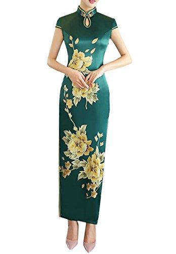 排除する仕事に行く仲人XueXian(TM) レディース チャイナドレス 半袖 花柄 チャイナ服 チャイナボダン