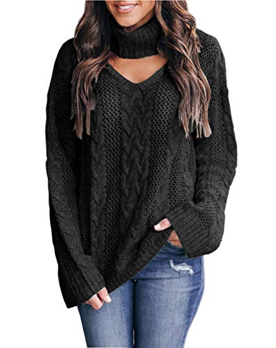 Womens Choker Sweater Plus Size Sexy V Neck Turtleneck Cable Knit Chunky Oversized Pullover Sweaters Tops