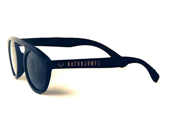 Naturjuwel - Gafas de sol madera diseño retro polarizadas UV 400 negras mujer y hombre unisex: Amazon.es: Ropa y accesorios