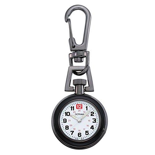 Gotham Unisex Gun Metal Analog Quartz Keychain Clip Fob Watch # GWC18107-2B