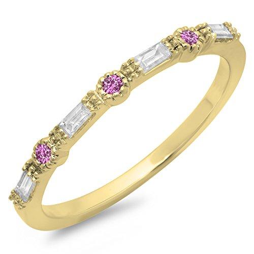 DazzlingRock Collection 14K Yellow Gold Round Cut Pink Sapphire & Baguette Cut White Diamond Anniversary Wedding Band (Size (Pink Sapphire Baguette)