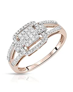 Rose Gold 0.35 CTW Color H-I, I2-I3 Diamond Women Ring. Ring Size 7. Total Item weight 2.1 g.