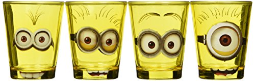 [Silver Buffalo DM031SG2 Despicable Me Minion Mini Glass Set, 4-Pack] (Despicable Me Glasses)