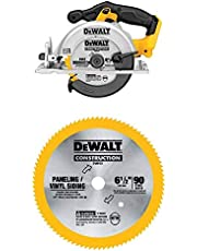 DEWALT (DCS391B) 20-Volt Max Li-Ion Circular Saw, Tool Only, Yellow with (DW9153) 6-1/2-Inch 90 Tooth Paneling and Vinyl Cutting Saw Blade with 5/8-Inch Arbor