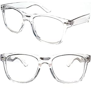 White Clear Wayfarer Style Reading Glasses - Comfortable Stylish Simple Readers Rx Magnification (3.00, clear)