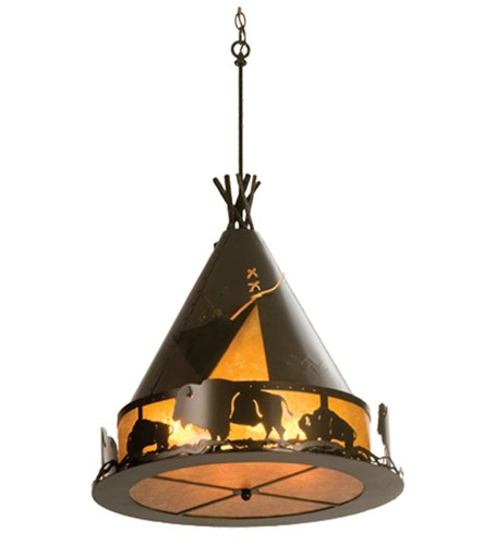 Meyda Tiffany 98741 Teepee with Buffalo Collection 8-Light Pendant, Antique Copper with Amber ()