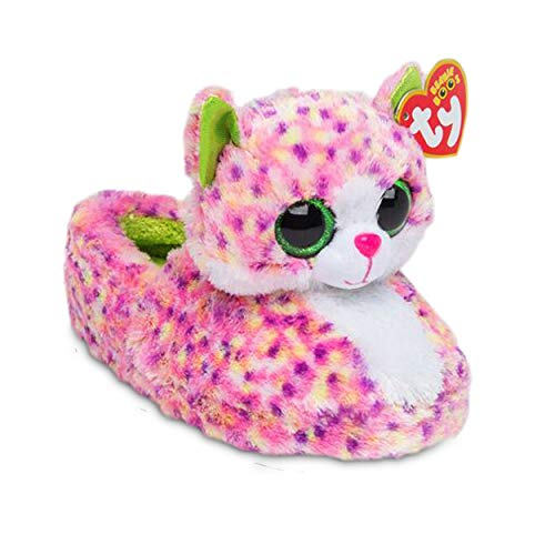 TY Beanie Boos Kids Girls Big Head Sophie Cat Non Skid Plush Slippers, Pink/Green, Large