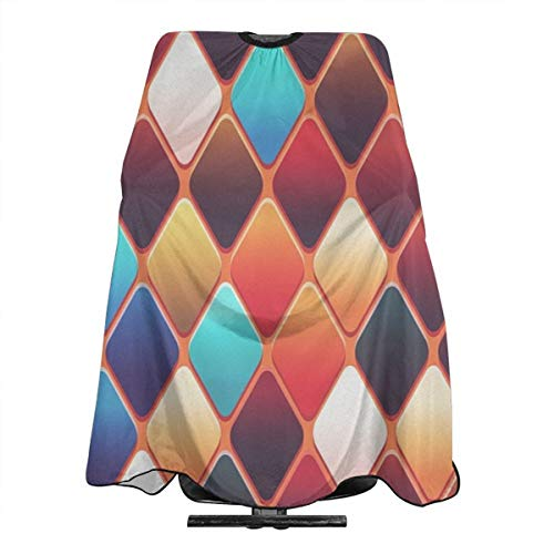Hueale Abstract Colorful Background Diamond Shape Tile Personalized Custom Professional Hair Salon Apron, Polyester Hair Shawl 55