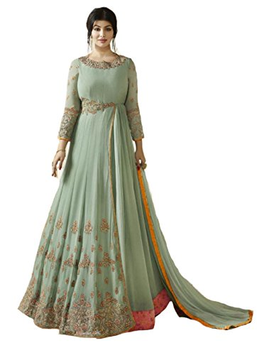 ziya Indian/Pakistani Designer Long Gown Type Style Wear Anarkali Salwar Suit (Sky Blue, Unstitch) (Suit Blue Salwar)