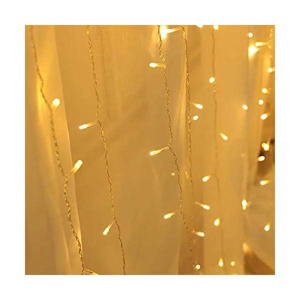 CREASHINE Tenda Luci LED 3 x 3 m, Tenda Luminosa Natale Esterno/Interno, Luci di Natale da Esterno con 8 Modalità di Illuminazione Natale Decorazioni Casa,Camera da Letto,Giardino 6 spesavip