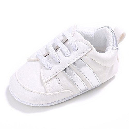 DESDEMONA Soft Soled Unisex Baby Boys or Girls Shoes Newborn Baby Walking Shoes for Babies (S, Silver stripes)