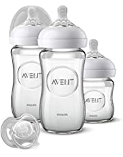 Philips Avent SCD303/01- Kit de cristal natural para recién nacidos, 2 botellas 240 ml + 1 botella 120 ml + 1 paleta 0-6 meses