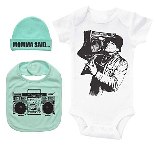 Hip Hop Baby Bundle White SS Onesie W/Hat & Bib/LL Cool J/Unisex Gift Set (Mint, 3-6M)